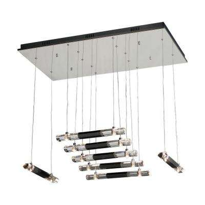 14 Light Pendant Polished Chrome Finish Black and Clear Glass