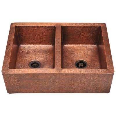 Farmhouse Apron Front Copper 35 in. Double Bowl Kitchen Sink