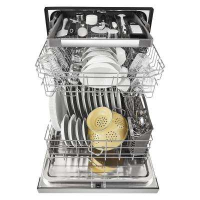 24 in. Front Control Built-In Tall Tub Dishwasher in Monochromatic Stainless Steel with a Third Level Rack