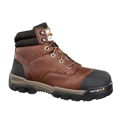 Ground Force Men's Brown Leather Waterproof Soft Toe Lace-up Work Boot