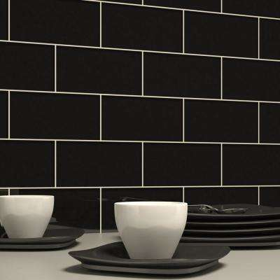 Black 3 in. x 6 in. x 8 mm Glass Subway Tile (5.5 sq. ft./case)