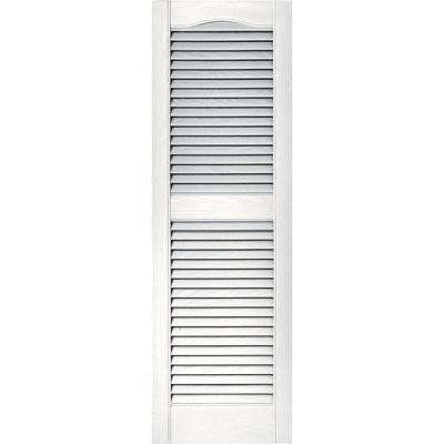 15 in. x 48 in. Louvered Vinyl Exterior Shutters Pair in #117 Bright White