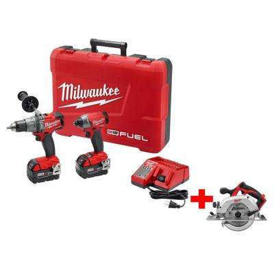 M18 FUEL 18-Volt Lithium-Ion Brushless Hammer Drill/Impact Combo Kit with Free M18 6-1/2 in. Circular Saw