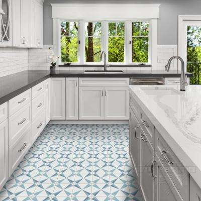Polaris Azul 8 in. x 8 in. Cement Handmade Floor and Wall Tile (Box of 16/ 6.96 sq. ft.)