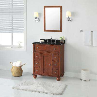 Hampton Harbor 28 in. W x 22 in. D in Sequoia Bath Vanity with  Granite Vanity Top in Black with White Sink