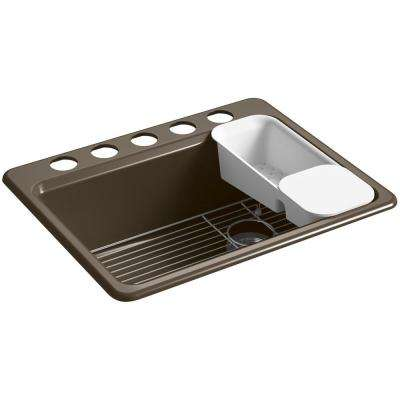 Riverby Undermount Cast Iron 27 in. 5-Hole Single Basin Kitchen Sink Kit in Suede