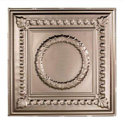Rosette - 2 ft. x 2 ft. Lay-in Ceiling Tile in Brushed Nickel