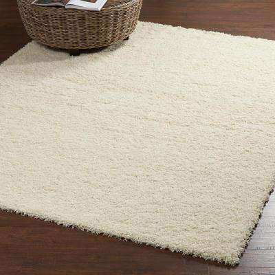 Contemporary Solid Beige 8 ft. x 10 ft. Shag Area Rug