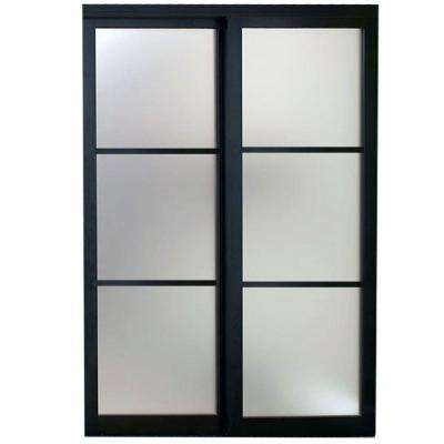 Sliding doors interior closet doors the home depot eclipse 3 lite mystique glass bronze finish aluminum interior sliding door planetlyrics Images