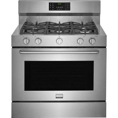 40 in. 6.4 cu. ft. Single Oven Dual Fuel Range with Self Cleaning Convection Oven in Stainless Steel
