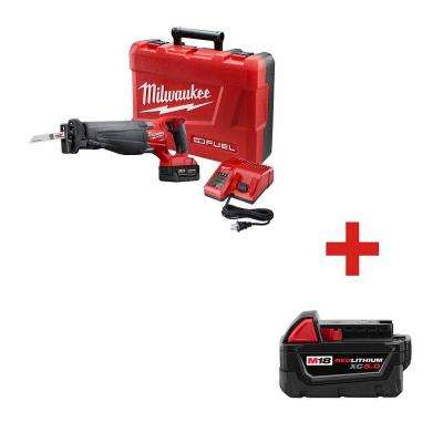 M18 FUEL 18-Volt Lithium-Ion Brushless Cordless SAWZALL Reciprocating Saw with Free M18 18-Volt XC 5.0Ah Battery