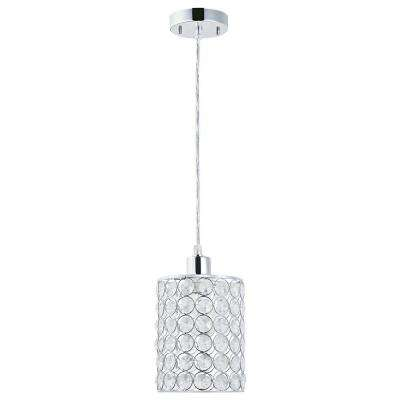 1-Light Chrome with Crystal Shade Mini Pendant