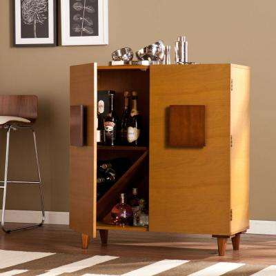 Penrose Bar Cabinet in 2-Toned Honey Oak