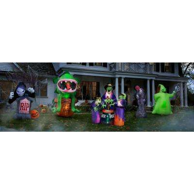 6 ft. Inflatable Fire and Ice 3 Witches with Cauldron (GGR) Projection Airblown Scene
