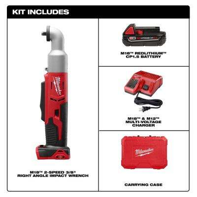 M18 18-Volt Lithium-Ion Cordless 3/8 in. 2-Speed Right Angle Impact Wrench Kit W/(1) 1.5Ah Batteries, Charger, Hard Case