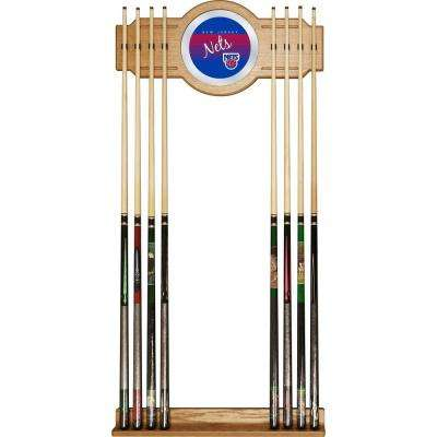 New Jersey Nets NBA Hardwood Classics 30 in. Wooden Billiard Cue Rack with Mirror