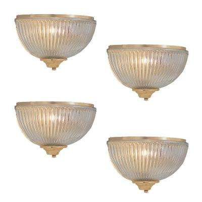 1-Light Polished Brass Wall Sconce with White Shade (4-Pack)