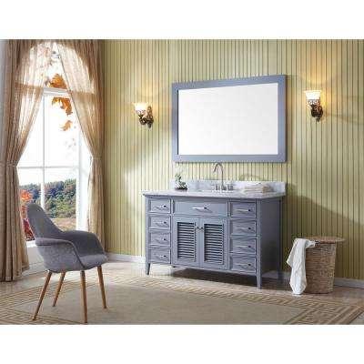 Kensington 55 in. Bath Vanity in Grey with Marble Vanity Top in Carrara White with White Basin