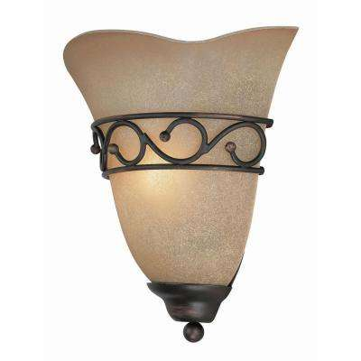 Reanna 1-Light Bronze Sconce with Amber Glass