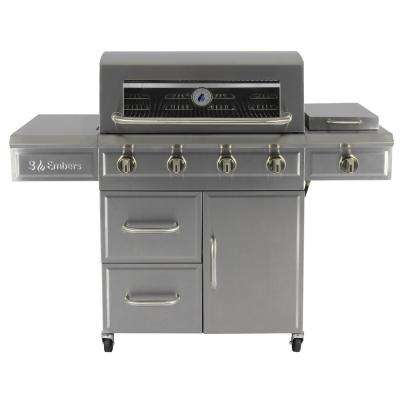 4-Burner Dual Fuel Propane Gas Grill with Side Burner in Stainless