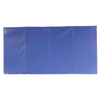 Folding Blue 4 ft. x 8 ft. x 1.5 in. 18 oz. Vinyl and Foam Gymnastics Mat