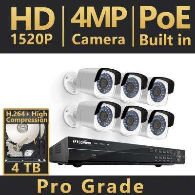 8-Channel 4MP Full HD 4TB IP NVR System (6) 2688x1520P Bullet Cameras, 100 ft. Night Vision, Free Remote Viewing