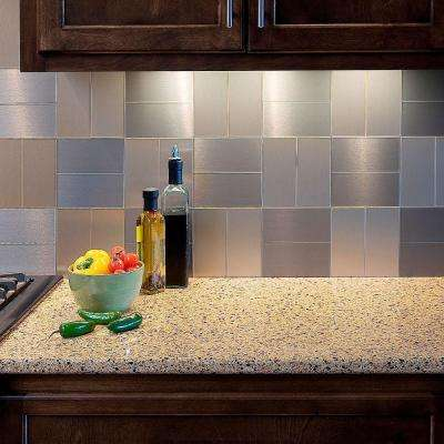 Short Grain 3 in. x 6 in. Metal Decorative Tile Backsplash in Brushed Stainless (8-Pack)