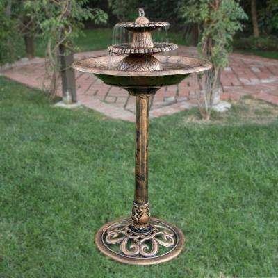 "Alpine Corporation 35"" Tall Outdoor 3-Tiered Pedestal Water Fountain and Birdbath, Bronze"