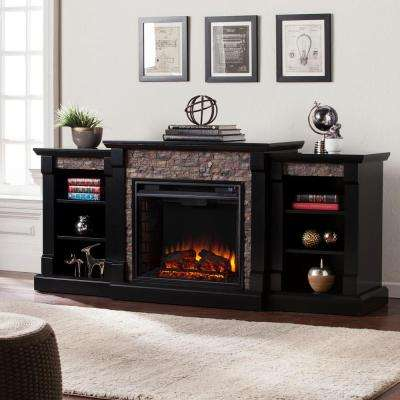 Nassau 71.75 in. W Faux Stone Electric Fireplace with Bookcases in Satin Black