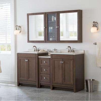 Delridge Bath Suite with 2 - 24 in. W Bath Vanities with Vanity tops and Linen Tower in Flagstone