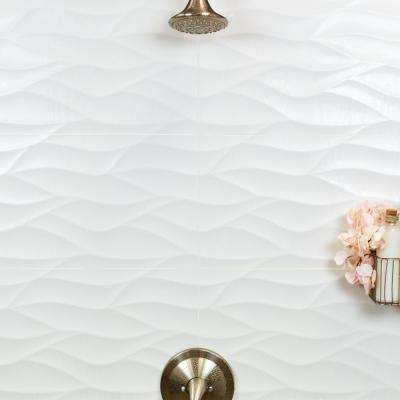 Ripple White Wavy 12 in. x 36 in. 10mm Matte Ceramic Wall Tile (5-Piece/14.5 sq. ft. /Box)