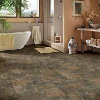 Dark Grey Slate 12 in. x 12 in. Peel and Stick Vinyl Tile (30 sq. ft. / case)