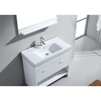 Gloria 36 in. W Bath Vanity in White with Ceramic Vanity Top in White Ceramic with Square Basin and Mirror and Faucet