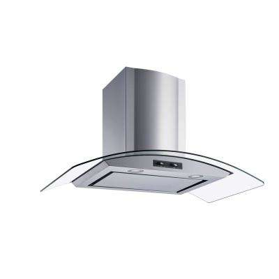 36 in. Convertible Wall Mount Range Hood in Stainless Steel and Glass with Mesh filter and Stainless Steel Panel