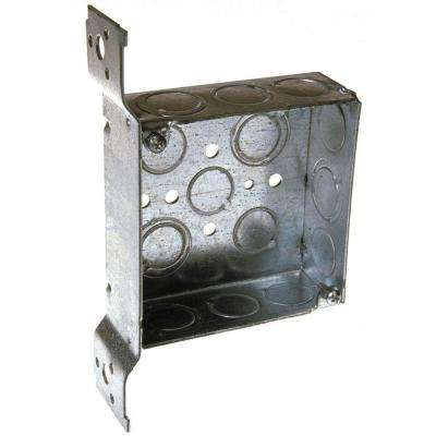 4 in. Square Welded Box, 1-1/2 Deep with 1/2 & 3/4 in. TKO's and Universal Bracket (25-Pack)