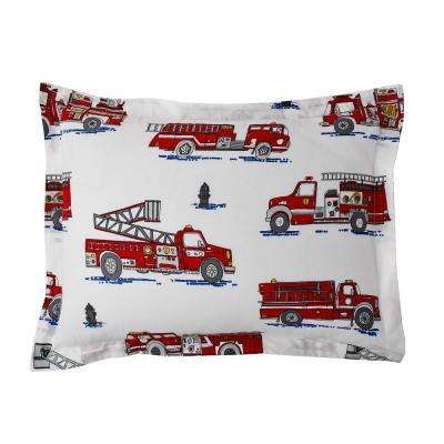 Fire Truck 200-Thread Count Cotton Percale Sham