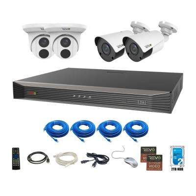 Ultra Commercial Grade 8-Channel 4K 2TB Smart NVR Surveillance System with 4 4K 8MP Indoor/Outdoor Cameras