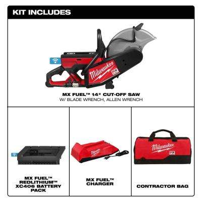 MX FUEL Lithium-Ion Cordless 14 in. Cut Off Saw with Battery and Charger
