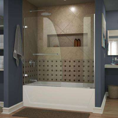Aqua Uno 60 in. x 58 in. Semi-Framed Hinged Tub/Shower Door with Extender in Chrome