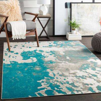 Noble Teal 7 ft. 10 in. x 10 ft. 3 in. Abstract Area Rug