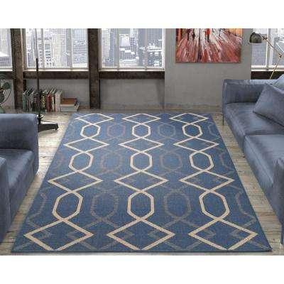 Jardin Collection Diamond Trellis Design Natural Blue 5 ft. x 7 ft. Indoor/Outdoor Area Rug
