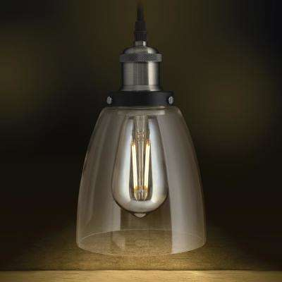 1-Light Brushed Nickel Pendant Fixture with Clear Shade and ST19 Dimmable LED Edison Amber Glass Light Bulb (4-Pack)