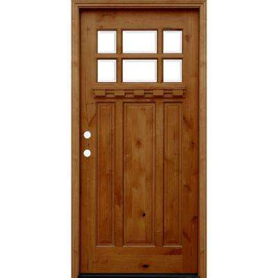 36 in. x 80 in. Craftsman Rustic 6 Lite Stained Knotty Alder Wood Prehung Front Door w/ 6 in. Wall Series & Dentil Shelf