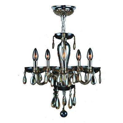 Gatsby 5-Light Golden Teak Hand-Blown Glass Chandelier