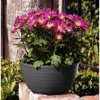 Dura Cotta 12 in. x 6.25 in. Charcoal Plastic Plant Bowl Planter