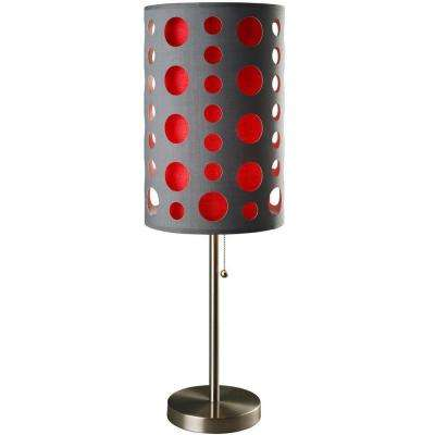 33 in. Grey and Red Stainless Steel High Modern Retro Table Lamp