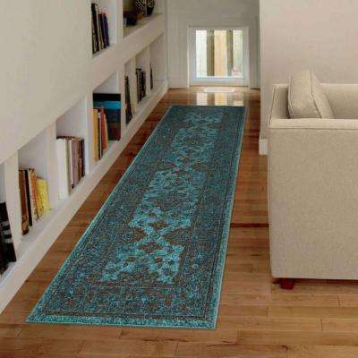 Grimaldi Blue Bright Colors 2 ft. x 8 ft. Indoor Runner Rug
