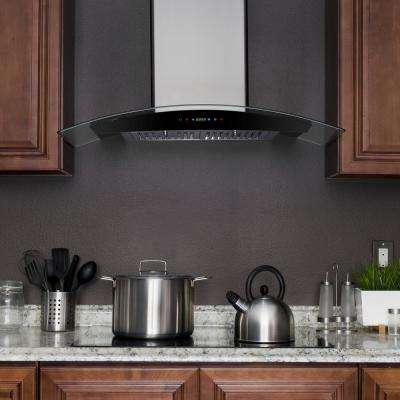 30 in. Convertible Wall Mount Range Hood in Stainless Steel with Tempered Glass and Remote Control