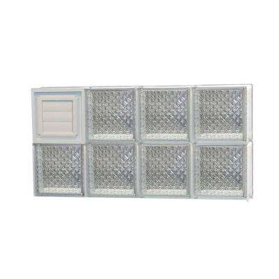 Frameless Diamond Pattern Glass Block Window with Dryer Vent