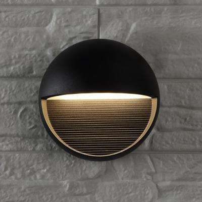 Orbe Small 6.25 in. Black Integrated LED Outdoor Metal/Glass Sconce